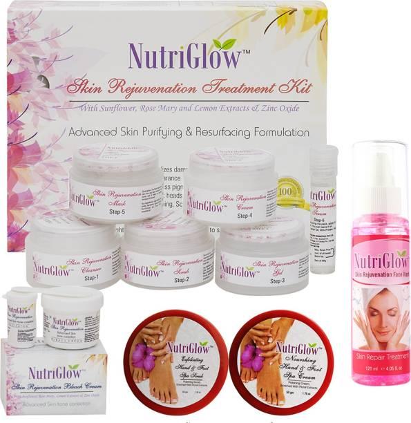 NutriGlow Set of 1 Skin Rejuvenation facial kit + 1 Skin Rejuvenation bleach cream + 1 Hand and foot Scrub + 1 Hand and foot cream + 1 Skin Rejuvenation face wash
