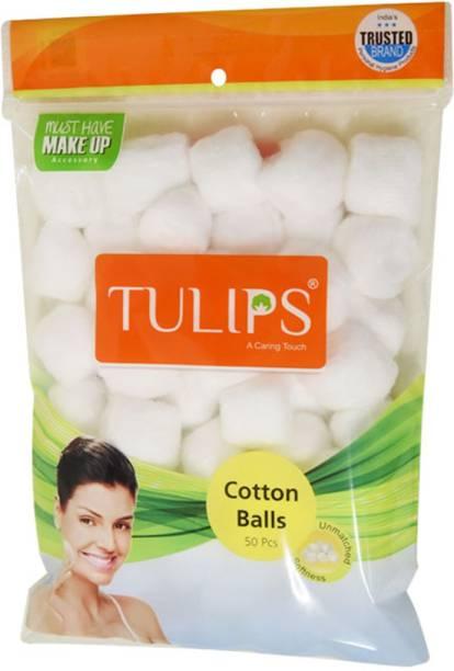 Tulips Cotton Balls 50pcs-White (Pack Of 6)