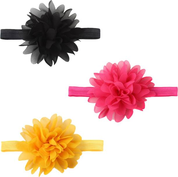 BABYMOON (Set of 3) Headbands Flowers Soft Hairbands for Baby Girls Infants Toddlers Head Band