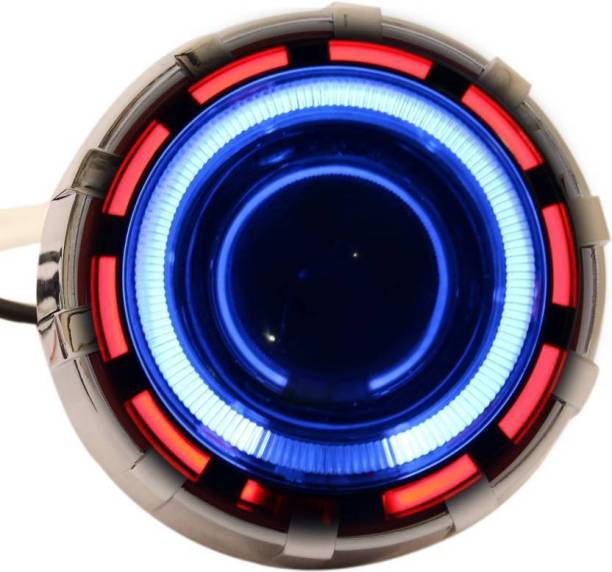 CADEAU Led Projector With Devil Eye ( Red & Blue ) For All Bikes Projector Lens