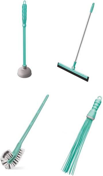 Spotzero 4 Pc Bathroom Combo Plastic Broom + Movable Floor Water Wiper + Toilet Brush Double Bristles + Plunger Big Broom, Cleaning Brush, Toilet Brush