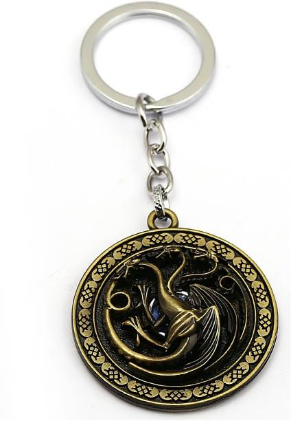 GCT Revolving | Rotating Game of Thrones GOT Targaryen Fire and Blood Three-headed Dragon (Design-13) Gold Metal Keychain for Car Bike Men Women Keyring Key Chain