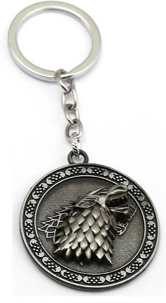 GCT Revolving | Rotating Game of Thrones GOT House Stark Winter is Coming Dire Wolf Head Sigil (Design-14) Silver Metal Keychain for Car Bike Men Women Keyring Key Chain