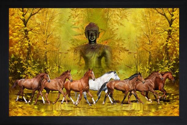 SAF Horse With Buddha Vastu Large Synthetic Framed UV Digital Reprint 14 inch x 20 inch Painting