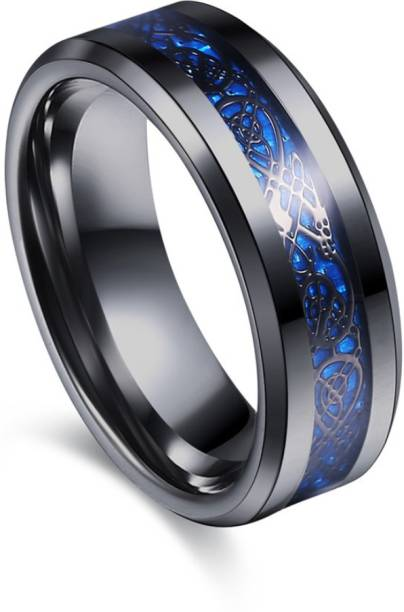 b8e81af2c Divastri Dragon Celtic Inlay Polish Finish Titanium Steel Ring Stainless  Steel Titanium Plated Ring