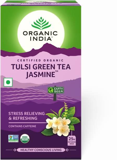 ORGANIC INDIA Jasmine and Tulsi Green Tea Bags Box