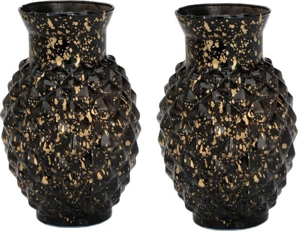 AFAST ColorfulGlass Flower Vase Hand Decorative With New & Stylish Shape(Set Of Two)-TP32 Glass Vase