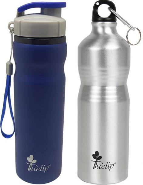 612e6639cc Tuelip Combo 2 Metal Durable Sports Water Bottle for College,Gym Bottle 700  ML 750