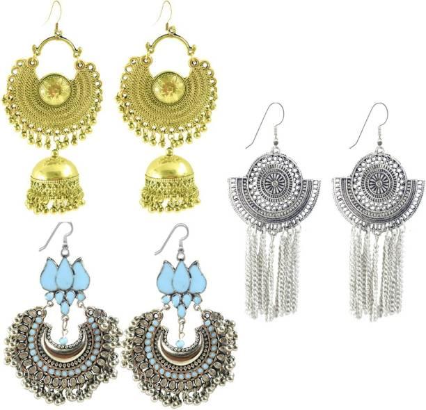 7ec43422d Panachee Meenakari German Silver Gold Coated Oxidized Jewellery Statement  Drop Tassel Jhumki Chandbali Jhumka Temple Earrings
