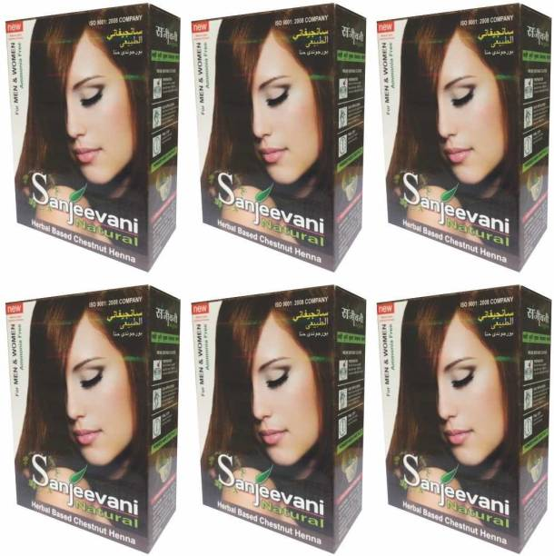 0dd7efdfc7a40 SANJEEVANI NATURAL Herbal Based Ammonia Free Chestnut Henna for Men & Women  Pack ...