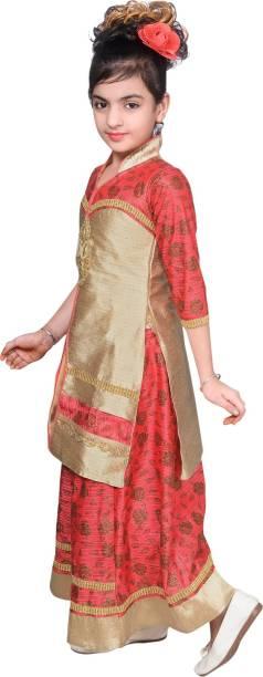 802457a764 Safina Collection Girls Lehenga Choli Ethnic Wear Solid Lehenga & Kurta