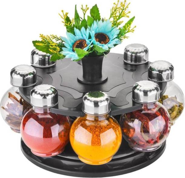 Manoj Sunlight 360 degree Revolving Round Shape Transparent Spice Rack, Spice Container, Masala Box, Spice Box, Masala Rack, Trolley Rack (Pack of 8 Jar) 8 Piece Spice Set