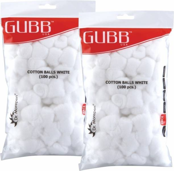 GUBB USA Cotton Balls White 100 Pieces Pack of 2 (100 x 2) For Makeup & Face Cleansing