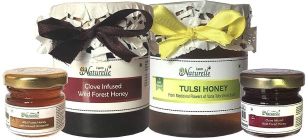 Farm Naturelle Farm Naturelle-Real Vana Tulsi Forest Honey (250 Gms) and Real Clove Infused Forest Honey (250 Gms) with (40 GMS X 2) Real Ginger infused Forest honey and Cinnamon Infused Forest honey Combo-Immense Medicinal Value