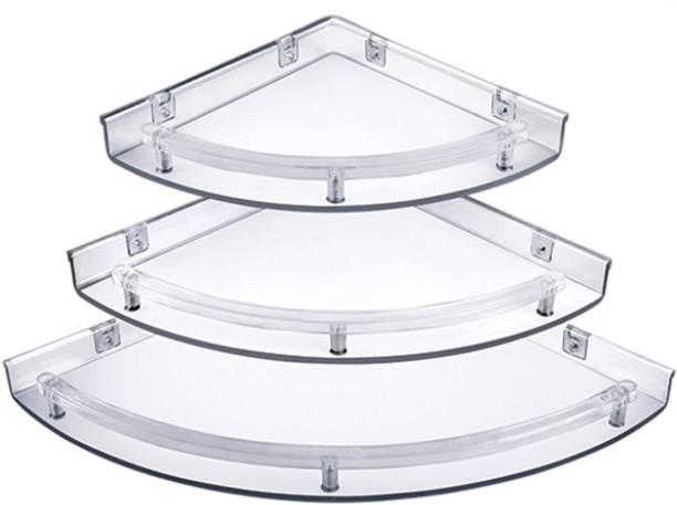 Aquabath Unbreakable Multipurpose Corner Shelves Set of 3 Corner Acrylic Wall Shelf