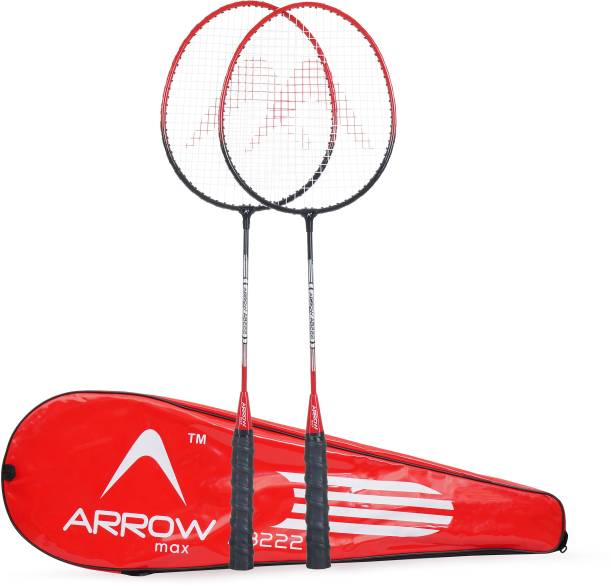 7209efba04e Arrowmax HIGH QUALITY STEEL RACKET SET (AB222) BY ONE SHOT RETAIL Red  Strung Badminton