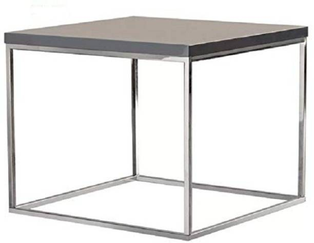 HEERA MOTI CORPORATION GreyGloss and Chrome Side Table, End Table, Stainless Steel Table Metal End Table
