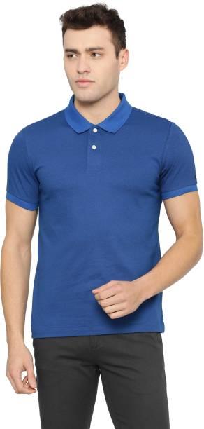 Arrow Sport Printed Men Polo Neck Blue T-Shirt