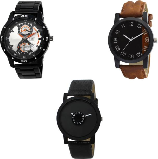 44d8b7648a NEUTRON Best Exclusive day and date Black And Brown And Color 3 Watch Combo  (BL46