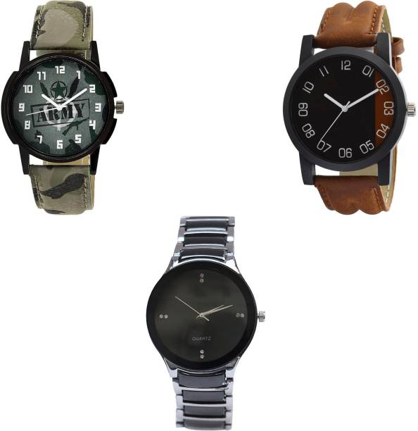 0013733e0c17 NEUTRON Contemporary Technology army Green And Brown And Black Color 3 Watch  Combo (B21-