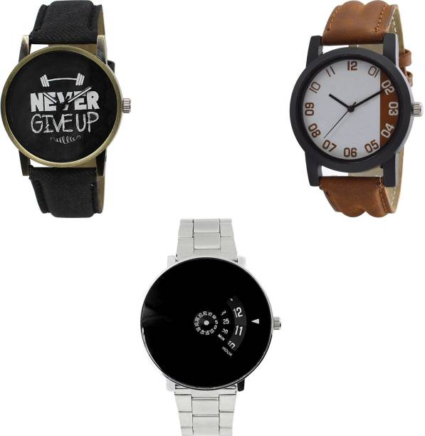 831fd60e58 NEUTRON Modern Present never give up Black And Brown And Silver Color 3  Watch Combo (