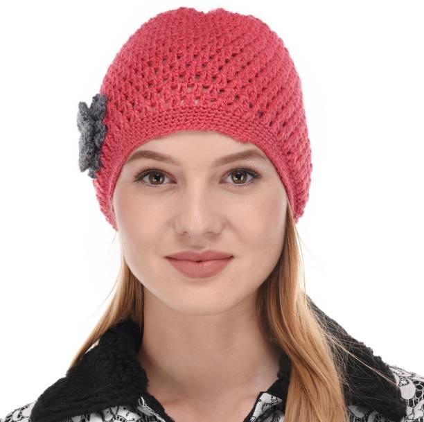 durgaenterprises DURGA Beanie Winter Cap Hand Woven Knitted Unisex  Skullies Pink Cap e797786908