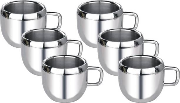 Aoito Pack of 6 Stainless Steel Apple Stainless Steel Mug