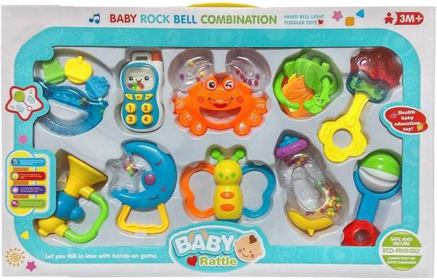 new product 9e44e 2e9d0 ICE TREE Colorful Baby Rattle Rock Bell Combination Gift set with Amazing  Sounds ( Set of