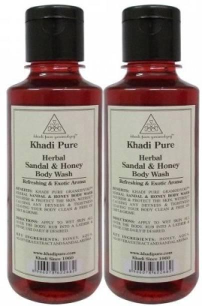 Khadi Pure Herbal Sandal & Honey Body Wash 210 ML (Pack Of 2)