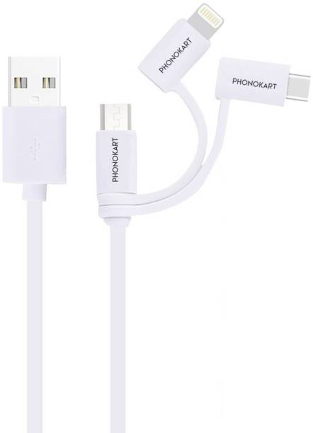 PHONOKART Itrio Mfi Certified 3 in 1 USB Charging cable-White 1 m Micro USB Cable