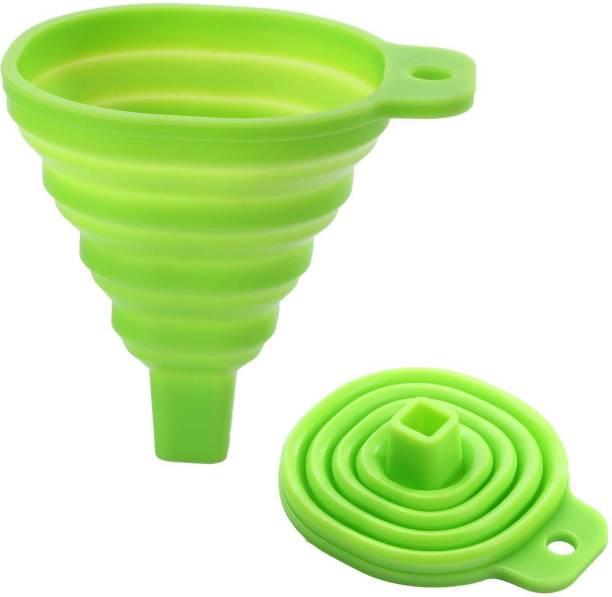RKPM Silicone Funnel For Kitchen Retractable Silicone Oil Liquid Funnel Transfer Hopper (Green 2 Pcs) Silicone Funnel