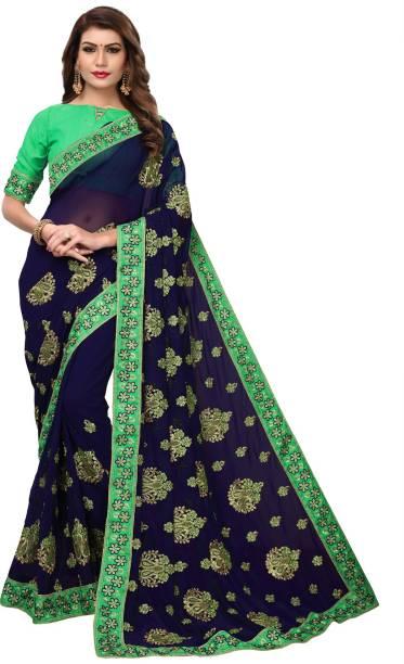 b08cf60770615 Pratham Blue Sarees - Buy Pratham Blue Sarees Online at Best Prices ...