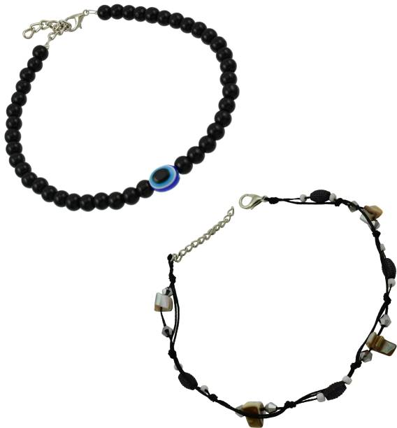 67324bc8b High Trendz Evil Eye Bead And Black Thread Single Anklets Combo Pack  Fabric