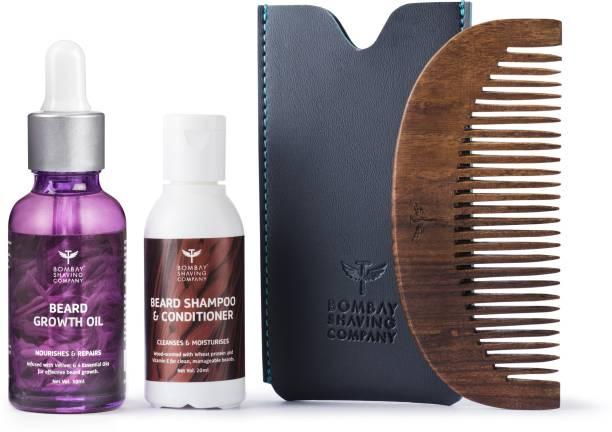 BOMBAY SHAVING COMPANY Beard Growth Oil 30ml & 20ml Wash with Beard Comb (Wood-scented)