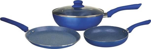 WONDERCHEF Royal Velvet Plus Induction Base Cookware Set, 4-Pieces, Blue Induction Bottom Cookware Set