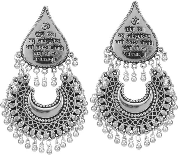 ARADHYA Beads Silver Chandbali Earring
