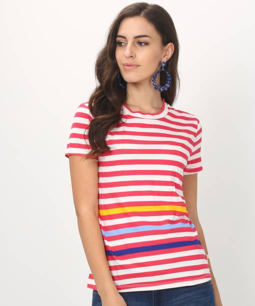 d2a4ea2edc8461 United Colors of Benetton Casual Half Sleeve Striped Women s Multicolor Top