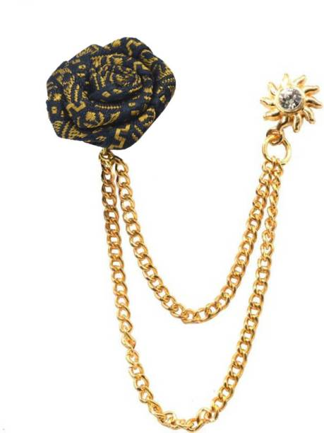 a335b6e91 Sullery Suits Brooch Pins Brooches Men Women Wedding Rose Flower Gold Chain  King Crown Lapel Pin