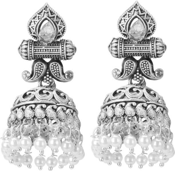 ARADHYA Pearl Silver Jhumki Earring