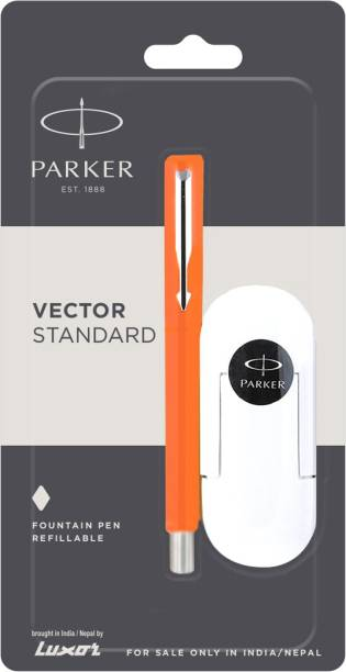 PARKER Vector Stdard Chrome TRim(Fine Nib)Orge+3 free inkcart Fountain Pen