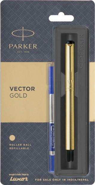 Parker Galaxy GT Roller Ball Pen Gold Trim RollerBall Black Body Blue Ink Vector