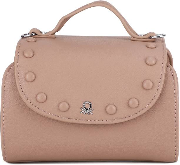 United Colors of Benetton Women Casual Pink Genuine Leather Sling Bag
