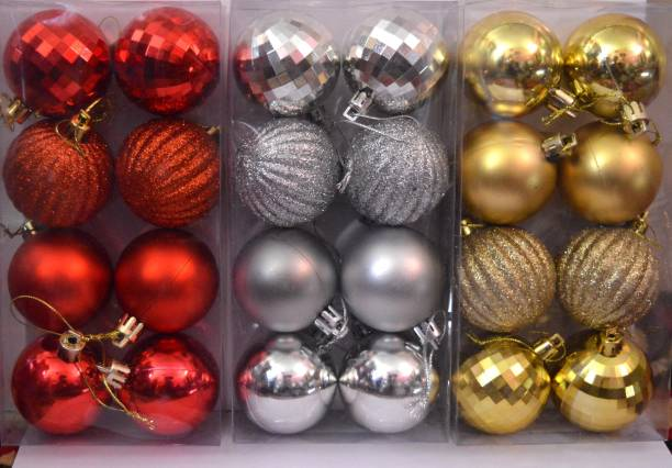 ONRR Collections Balls Golden-Silver-Red 3 inches size pack of 24pcs 4 designs/patterns in 3colours Christmas Tree Hanging Ornaments Pack of 24