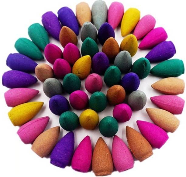 TRENDY NEED Backflow Dhoop Cones Mixed Fragrance - 100 Pcs Sandal, Rose, Lavender, Woody Dhoop