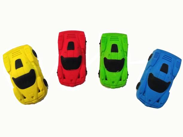 TECHNOCHITRA RACING CAR SHAPE MULTI COLOR ERASER , SET OF 4 BIRTHDAY RETURN GIFT Non-Toxic Eraser