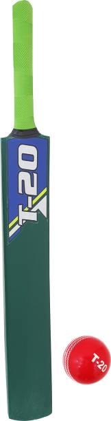 Jaspo T-20 Wooden Cricket Ball with Wooden Bat(Size-5)(Wooden Bat,1 T-20 Ball)(green) Cricket Kit