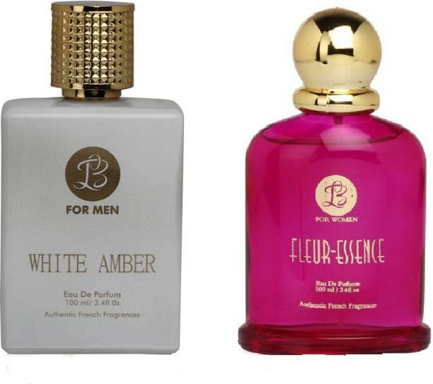 Lyla Blanc Mens WHITE AMBER & Womens FLEUR-ESSENCE - (Set of 2 Perfume for Couple) (100ml each) Eau de Parfum  -  100 ml
