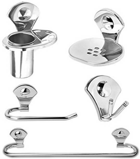 Capital Bathroom Accessories Set Combo of 5 ( Set of 1 ) Robe Hook / Soap DIsh / Tumbler Holder / Towel Ring / Towel Rod Silver Towel Holder silver Towel Holder
