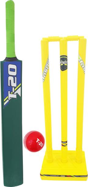 Jaspo T-20 Wooden Cricket Set(Size-5)(1 Wooden bat,1 T-20 Ball,3 Plastic Stumps,2 Bail)(GREEN) Cricket Kit