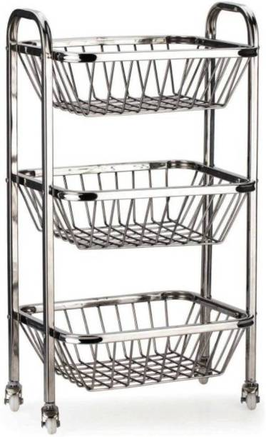 Avishi Stainless Steel Fruit And Vegetable 3 PCs Trolley Stainless Steel Kitchen Trolley